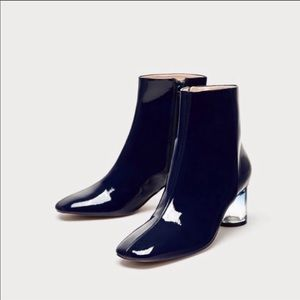 Zara Navy patent leather ankle boots